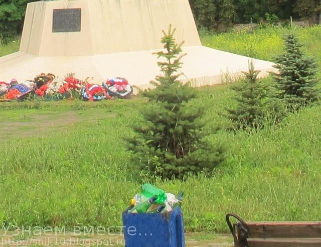 Полная мусорка рядом с памятником артиллеристам в селе Большие Салы