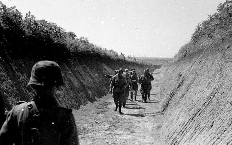 Советские солдаты сдаются в плен солдатам дивизии СС Викинг, июль 1942 года