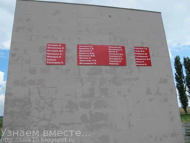 Таблички на мемориальном кубе с фамилиями погибших артиллеристов